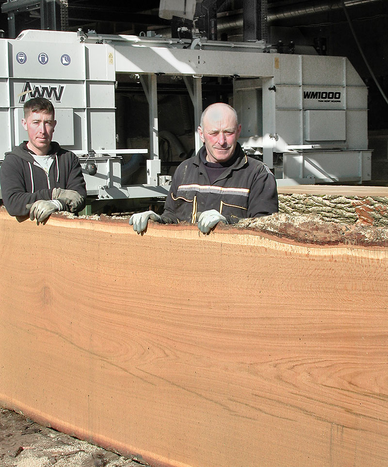 WM1000 sawmill customer with oak slab